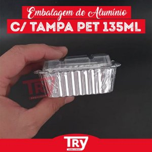 Embalagem Sobremesa 135ml De Alumínio Tampa Pet Wyda 100 Uni