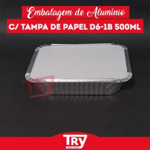 Embalagem Retangular De Alumínio 500 Ml Wyda  Tampa de Papel C/100 Und - D 6
