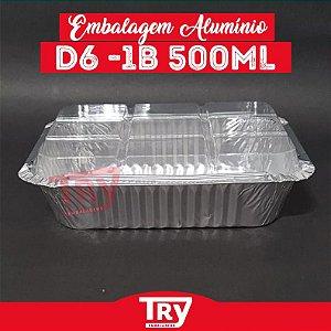 Embalagem Retang De Alumínio 500ml C/tampa Pet Wyda C/50 Und