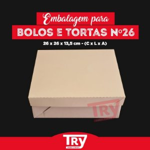 Caixa p/ Bolos, Tortas, Doces, Salgados Nº26 (1,5 Kg) 5uni Branco