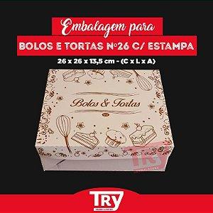 Caixa p/ tortas, Bolos, Doces E Salgados Nº26 (1,5 Kg) 5un c/ Estampa