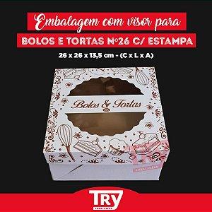 Caixa p/ Tortas, Bolos, Doces, Salgados Nº26 C/ Visor 5uni Estampada