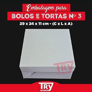 Caixa p/ Tortas, Bolos, Doces, Salgados Nº3 (até 1,8kg) 5un Branco
