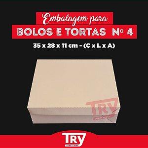 Caixa p/ Tortas, Bolos, Doces, Salgados Nº4 (até 2,5kg) 5un Branco