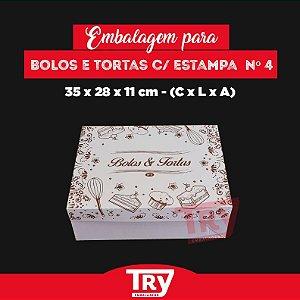 Caixa p/ Tortas, Bolos, Doces, Salgados Nº4 (até 2,5kg) 5un Estampado
