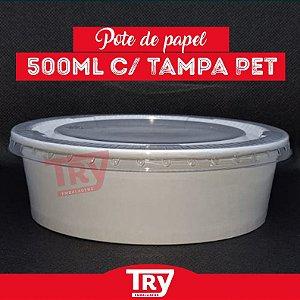 Pote De Papel 500ml Tampa Pet Saladas Porções Sobremesas 25unidades