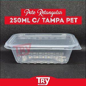 Pote Retangular 250ml Microondas E Freezer com 48 unidades