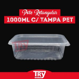 Pote Retangular C/ Tampa 1000ml Prafesta com 24 unidades