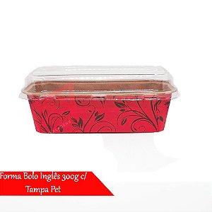 Forma De Papel P/ Bolo Caseirinho Inglês 300g C/ Tampa 50un (Vermelho Decorado)