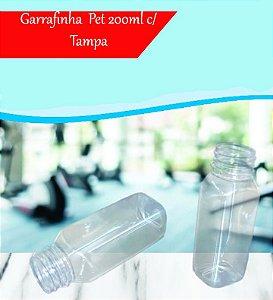 Garrafa Pet 200ml Tampa Preto com Lacre 100 unidades