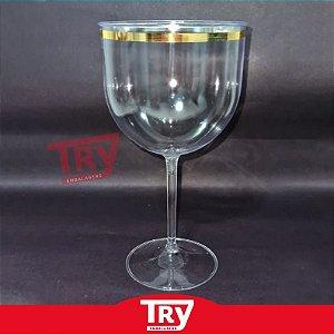 Taça Gin 600ml c/ Borda Dourada S/tampa (5 Un)