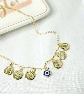 Choker Medalhas e Olho grego