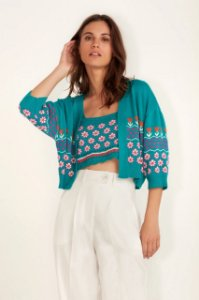 TWINSET TRICOT FLORAL AZUL