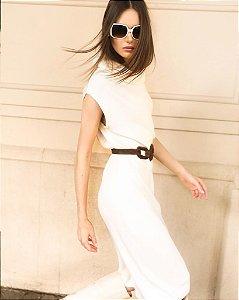 Vestido Trico Gola Off White