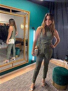 Calça skinny com cinto Sabrina