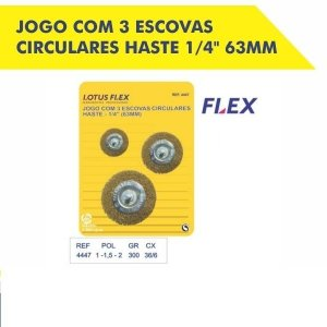 Escova Circular (Jogo com 3)  Haste 1/4 63mm 4447 Lotus