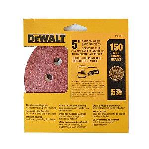 """Kit com 5 Discos de Lixa 5"""" n°150 com 8 Furos DW4304 Dewalt"""