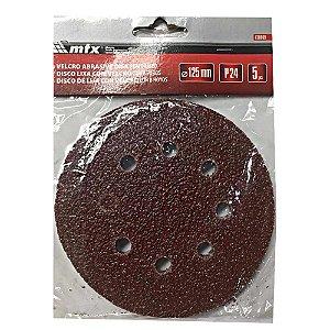 Disco De Lixa Kit com 5 unidades Com Aderência Grao 24 125mm