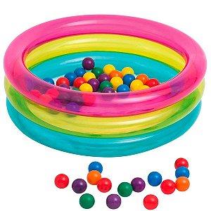 Piscina Infantil Inflável com 50 Bolinhas Coloridas Intex