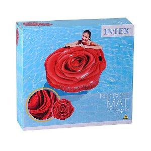 Colchão Inflável Flor Rosa Vermelha p uma pessoa Intex 58783
