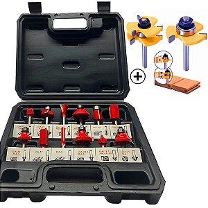 Kit 14 Fresas Profissional para Tupia Haste 6mm com Maleta