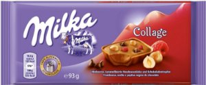 Chocolate ao Leite Milka Collage framboesa e avelã 100g
