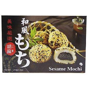 Mochi (bolinho de arroz) com pasta de gergelim