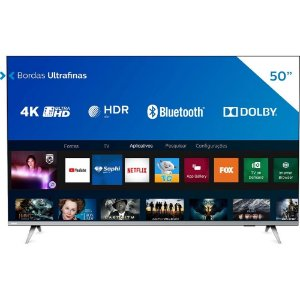 Smart TV LED 50'' Philips 50PUG6654/78 Ultra HD 4k, Design sem Bordas HDR10+ 3 HDMI 2 USB 60 HZ - Prata
