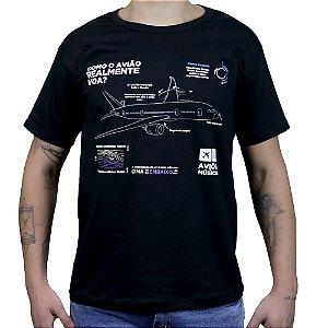 Camiseta Como o Avião Realmente Voa - Preta Aviöes e Músicas