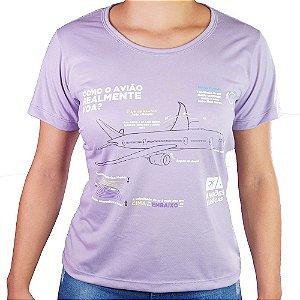 Camiseta Feminina Como o Avião Realmente Voa - Lilás Aviões e Músicas