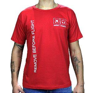 Camiseta Remove Before Flight Vermelha Aviões e Músicas