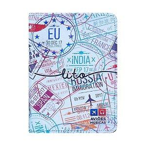 Porta Passaporte Carimbado 2 - Aviões e Músicas
