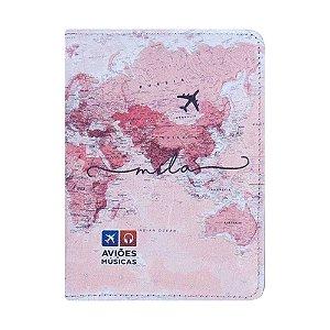 Porta Passaporte Mapa Mundi Rosa - Aviões e Músicas