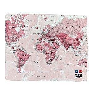 Mouse Pad Mapa Mundi Rosa