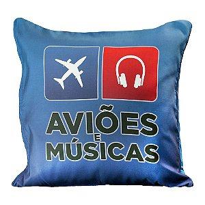 Capa Almofada Clássica Aviões e Músicas