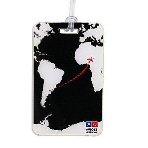 Tag de Mala Mapa Mundi Preto Aviões e Músicas