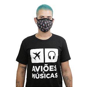Kit Camiseta + Máscara Aviões e Músicas Clássica Preta