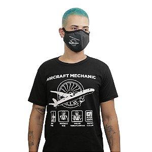 """Kit Camiseta + Máscara """"Aircraft Mechanic"""" Preta"""