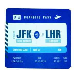 Mouse Pad Boarding Pass Personalizável - Azul