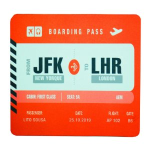 Mouse Pad Boarding Pass Personalizável - Vermelho