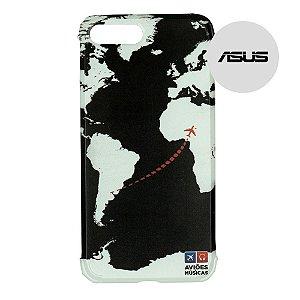 Capa para Smartphone Mapa Mundi Preto - Asus - Aviões e Músicas