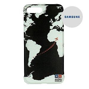 Capa para Smartphone Mapa Mundi Preto - Samsung - Aviões e Músicas