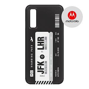 Capa para Smartphone Boarding Pass Personalizável Preta - Motorola - Aviões e Músicas