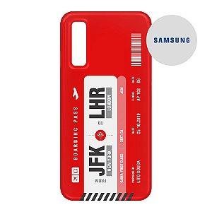 Capa para Smartphone Boarding Pass Personalizável Vermelha - Samsung - Aviões e Músicas