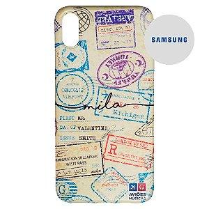 Capa para Smartphone Passaporte Carimbado 1 Personalizável - Samsung - Aviões e Músicas