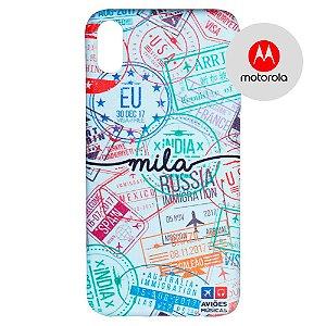 Capa para Smartphone Passaporte Carimbado 2 Personalizável - Motorola - Aviões e Músicas