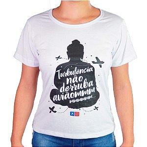 Camiseta Turbulência Feminina Aviões e Músicas