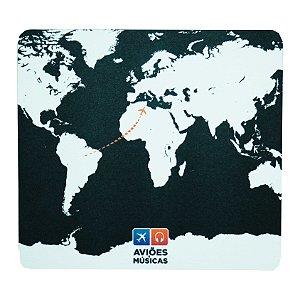 Mouse Pad Mapa Mundi Preto