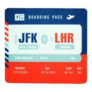 Mouse Pad Boarding Pass Personalizável - Multicolor