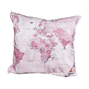 Capa Almofada Mapa Mundi Rosa